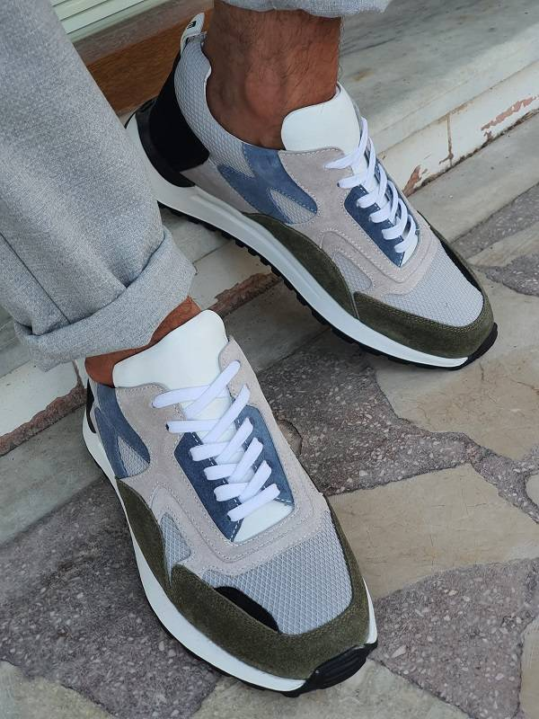 Gray Suede High-Top Sneakers