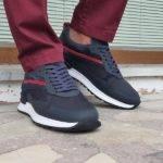 Navy Blue Mid-Top Sneakers