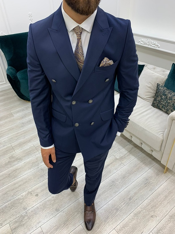 Navy Blue Slim Fit Peak Lapel Double Breasted Suit