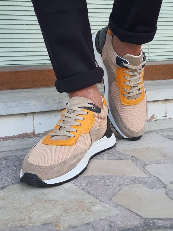 Orange Mid-Top Sneakers