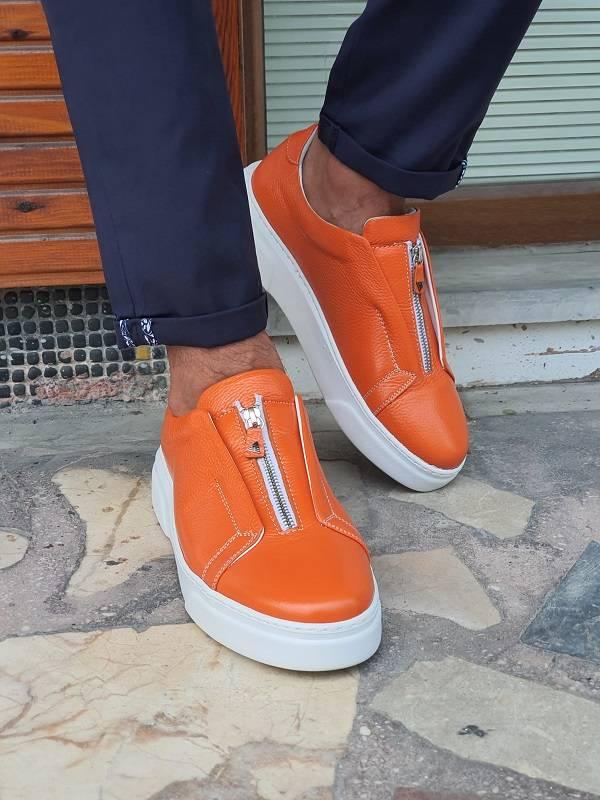 Orange Mid-Top Zipper Sneakers