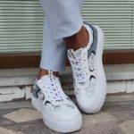 White Mid-Top Sneakers