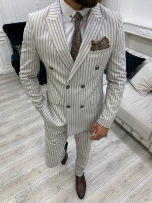 Beige Slim Fit Peak Lapel Double Breasted Striped Suit
