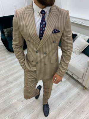 Brown Slim Fit Peak Lapel Double Breasted Striped Suit