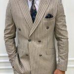 Cream Slim Fit Peak Lapel Double Breasted Striped Suit