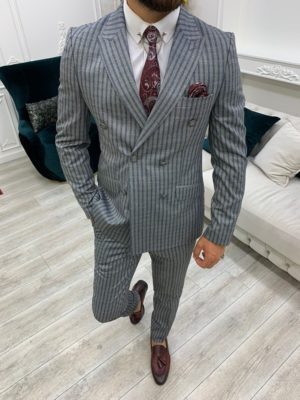 Gray Slim Fit Peak Lapel Double Breasted Striped Suit