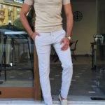 Beige Slim Fit Zipper Polo T-Shirt