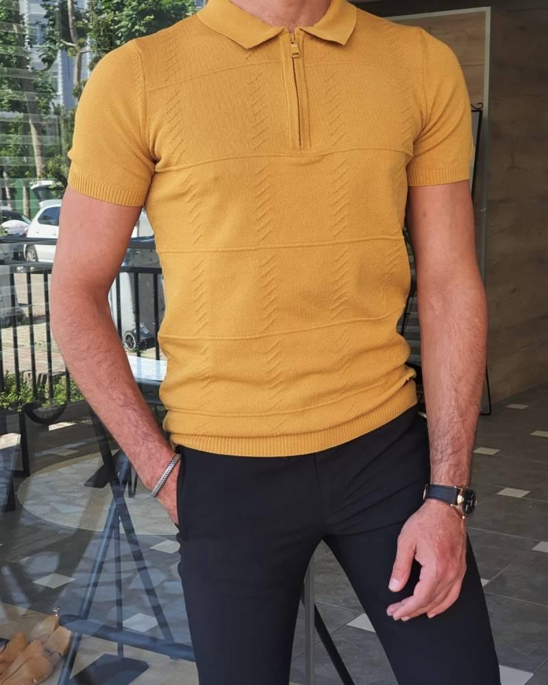 Slim Fit Zipper Polo T-Shirt