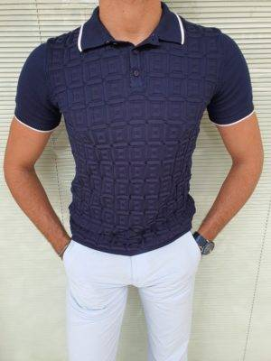 Navy Blue Slim Fit Polo T-Shirt
