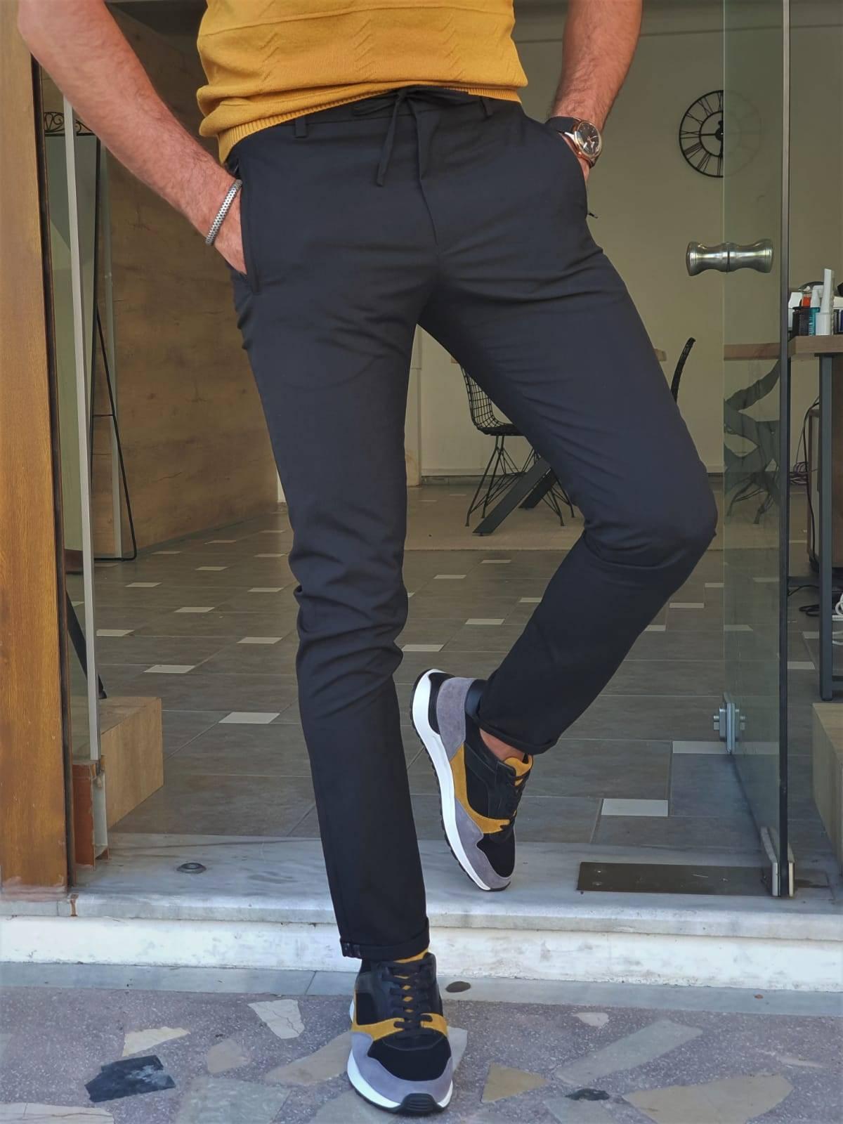 Black Slim Fit Cotton Pants