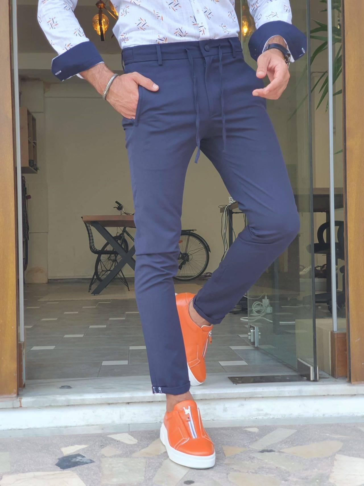 Navy Blue Slim Fit Cotton Pants