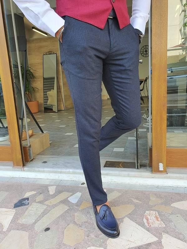 Navy Blue Slim Fit Plaid Cotton Pants