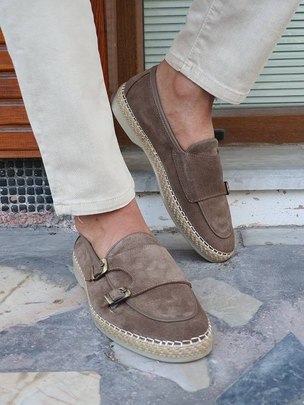 Beige Suede Double Monk Strap Loafers