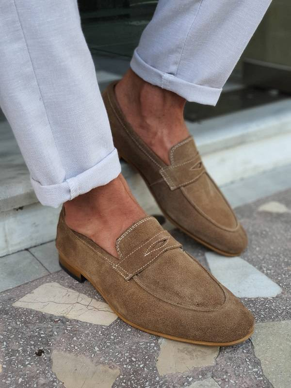 Beige Suede Penny Loafers