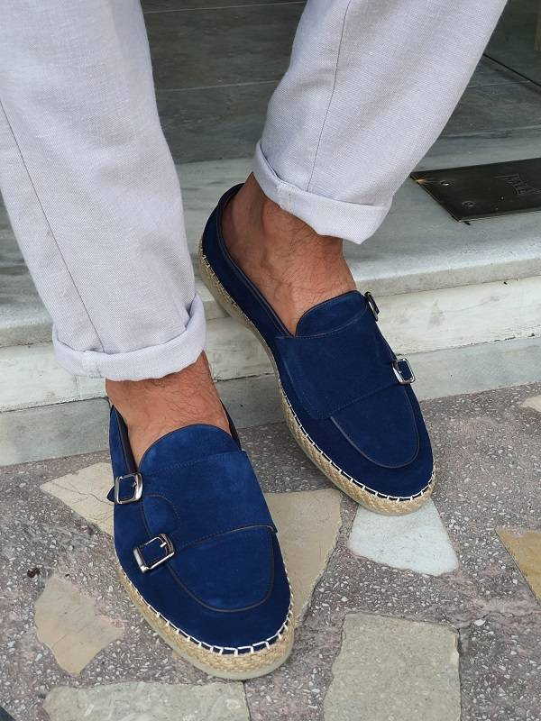 Blue Suede Double Monk Strap Loafers