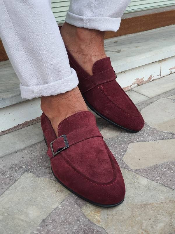Burgundy Suede Buckle Loafers