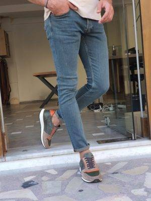 Khaki Slim Fit Ripped Lycra Jeans