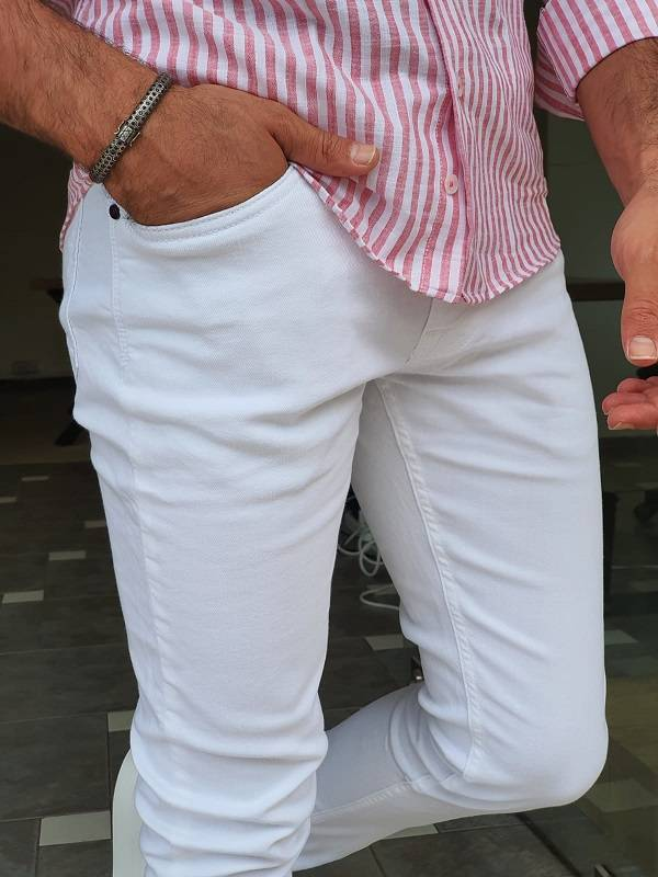 White Slim Fit Lycra Jeans