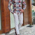 Beige Slim Fit Long Sleeve Tropical Cotton Shirt
