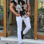 Black Slim Fit Short Sleeve Floral Shirt