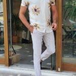 White Slim Fit Short Sleeve Floral Shirt