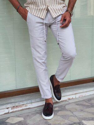 Navak Beige Slim Fit Linen Pants