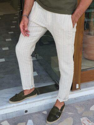 Slim Fit Pinstripe Linen Pants