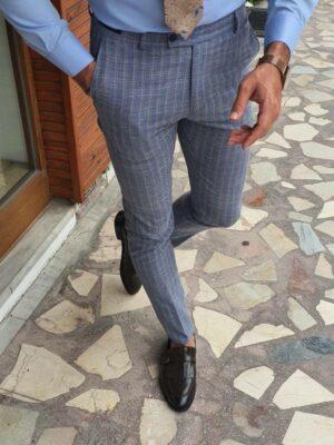 Navy Blue Beige Slim Fit Striped Pants