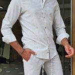 Slim Fit Long Sleeve Pinstripe Cotton Shirt
