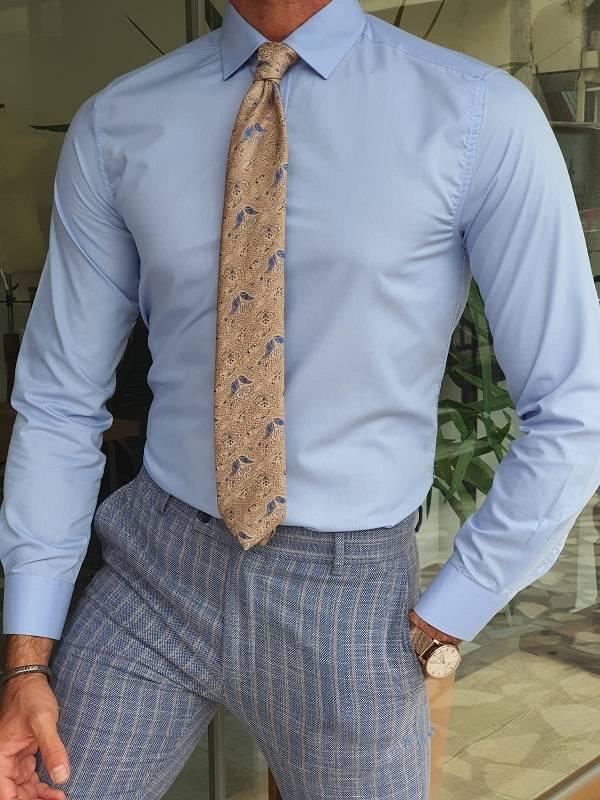 Blue Slim Fit Long Sleeve Cotton Dress Shirt