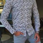 Gray Slim Fit Long Sleeve Cotton Shirt