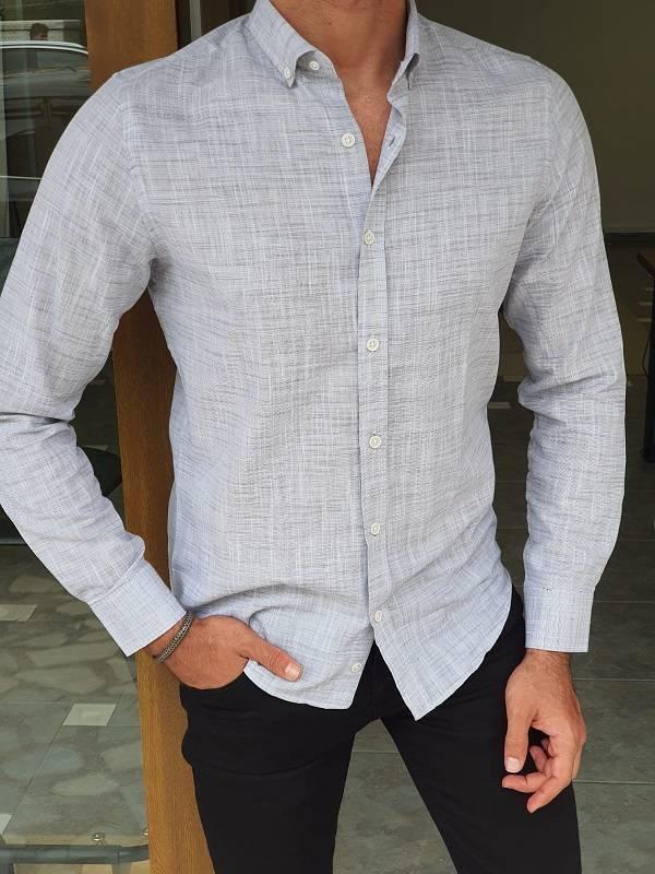 Gray Slim Fit Long Sleeve Crosshatch Cotton Shirt