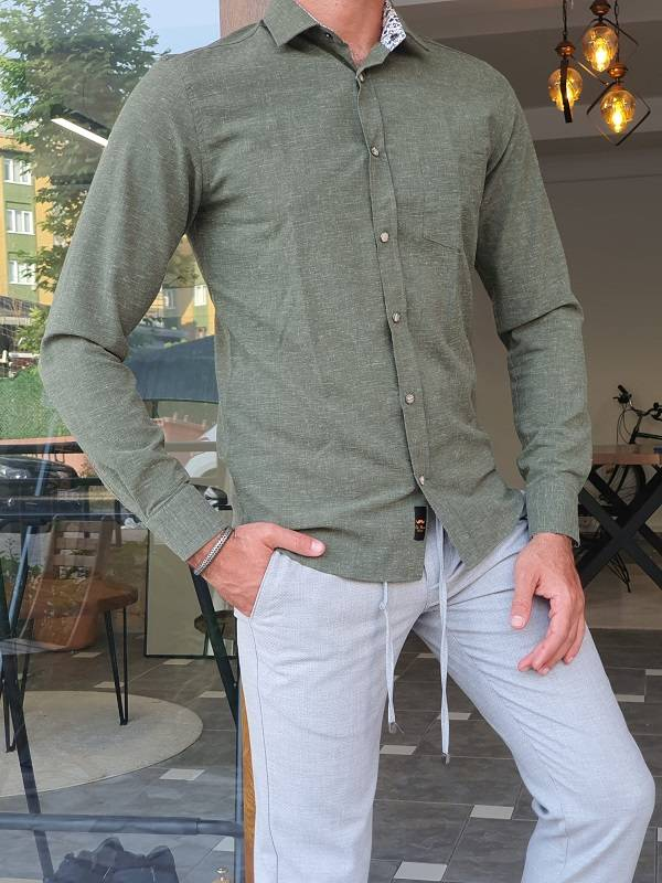 Green Slim Fit Long Sleeve Cotton Shirt