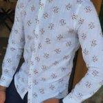 Slim Fit Long Sleeve Patterned Cotton Shirt