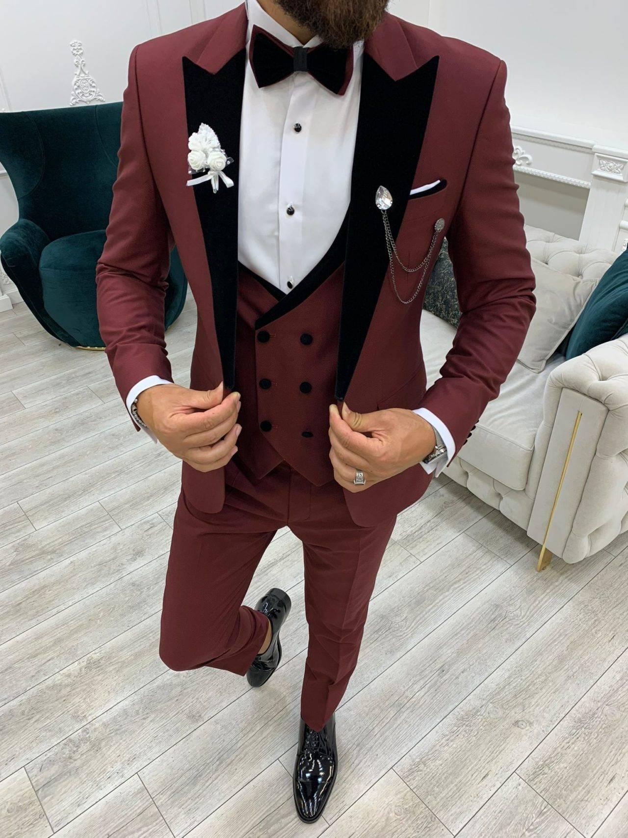 Aysoti Boham Burgundy Slim Fit Velvet Peak Lapel Tuxedo