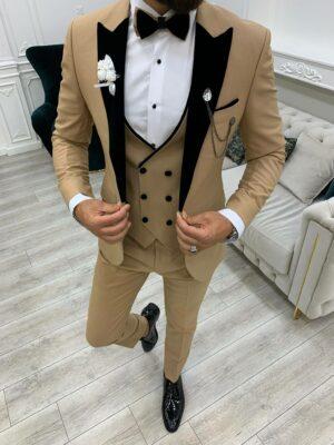 Aysoti Boham Golden Slim Fit Velvet Peak Lapel Tuxedo