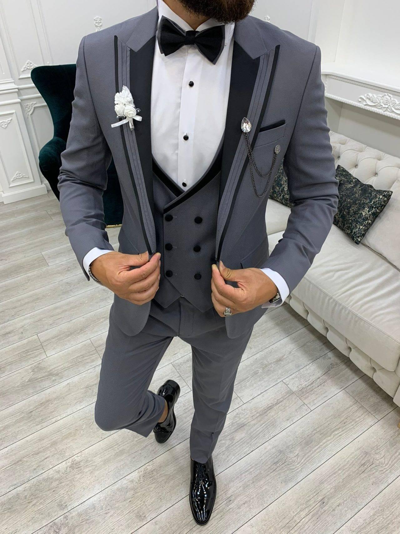 Gray Slim Fit Peak Lapel Tuxedo