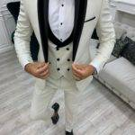 Aysoti Boham Off White Slim Fit Shawl Lapel Tuxedo