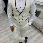 Off White Slim Fit Velvet Peak Lapel Tuxedo