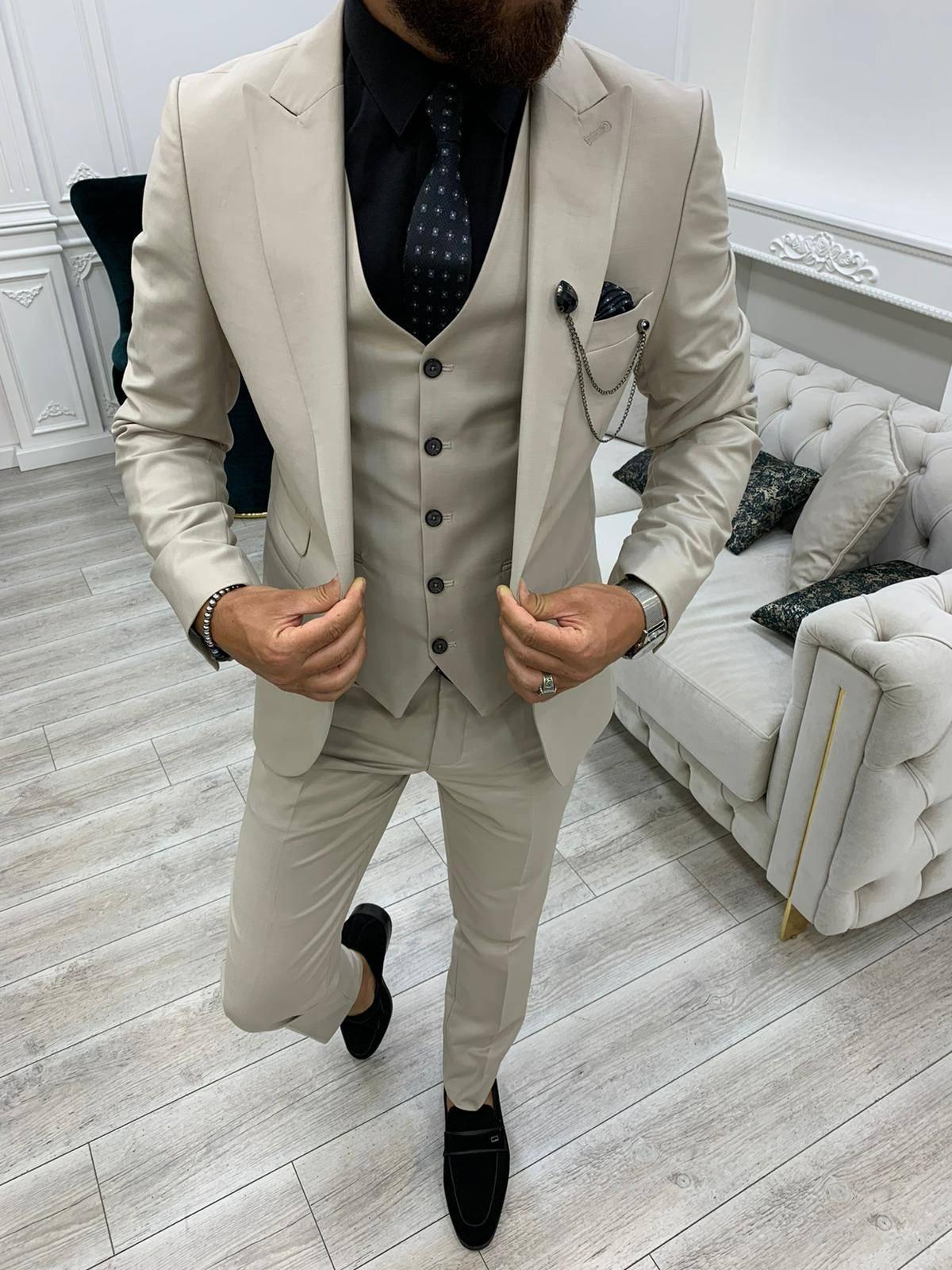 Beige Slim Fit Peak Lapel Suit