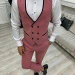 Pink Slim Fit Velvet Peak Lapel Tuxedo