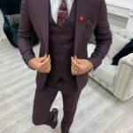 Burgundy Slim Fit Peak Lapel Suit
