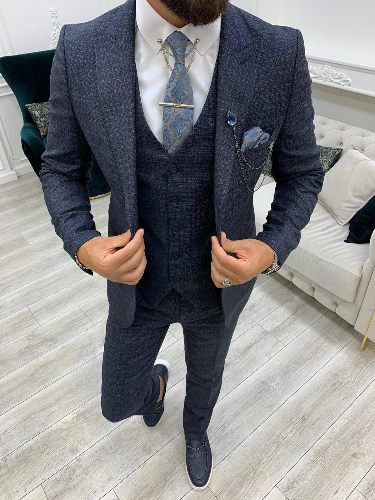 Navy Blue Slim Fit Peak Lapel Suit