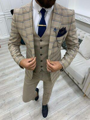 Cream Slim Fit Peak Lapel Plaid Suit