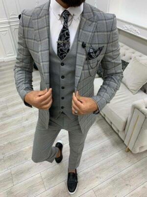 Dark Gray Slim Fit Peak Lapel Plaid Suit