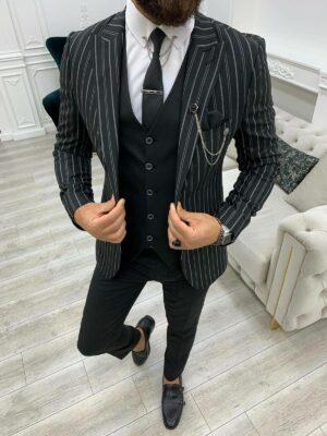 Black Slim Fit Peak Lapel Striped Suit