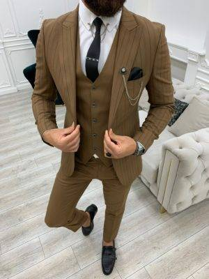Brown Slim Fit Peak Lapel Striped Suit