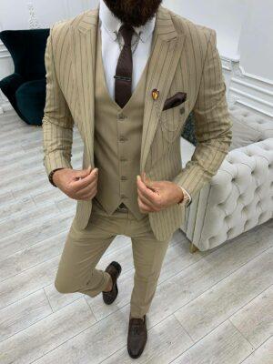 Cream Slim Fit Peak Lapel Striped Suit
