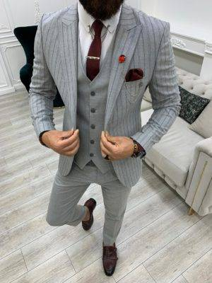 Gray Slim Fit Peak Lapel Striped Suit