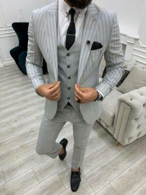 Light Gray Slim Fit Peak Lapel Striped Suit